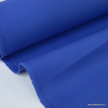 Tissu gabardine sergé polyester coton coloris bleu royal