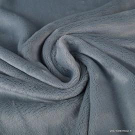 Tissu doudou ultra doux, moelleux et lourd coloris GRIS PERLE