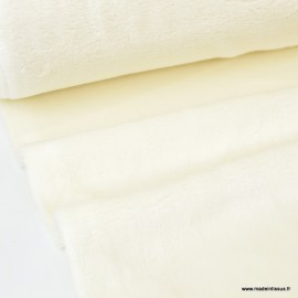 Tissu doudou ultra doux, lourd, écru