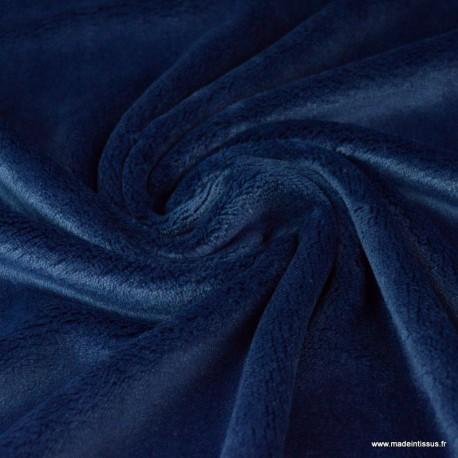 Tissu doudou ultra doux, lourd, MARINE