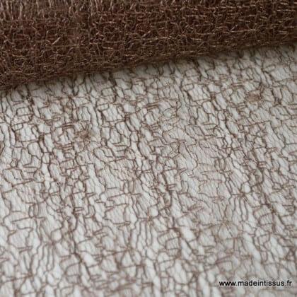 Tissu Tulle résille marron pour décoration