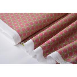Tissu popeline coton imprimé dessin fleurs courbes kaki rose .x1m