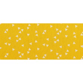 Tissu 100% popeline coton dessin grand triangles jaune .x1m