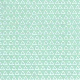 Tissu 100% coton dessin triangles blanc fond menthe