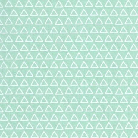 Tissu 100% coton dessin triangles blanc fond menthe.x1m