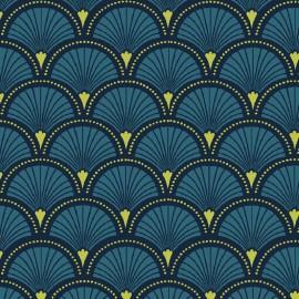 Tissu cretonne coton imprimée Ecailles Petrole .x1m