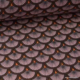 Tissu cretonne coton imprimée Ecailles Rose et noir .x1m