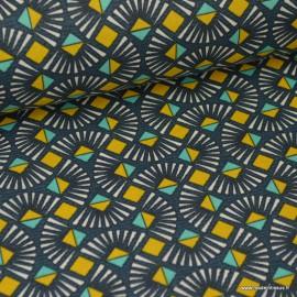 Tissu coton Oeko tex imprimé graphique Wax Pétrole et moutarde .x1m