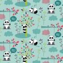 Tissu coton Oeko tex imprimé Pandas fond Turquoise