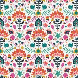 Tissu Popeline coton prenium imprimé Fleurs collection Lugu by Jessica Swift pour Art Gallery Fabrics .x1m