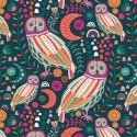 Tissu Popeline coton prenium imprimé Hiboux et Fleurs collection Lugu by Jessica Swift pour Art Gallery Fabrics