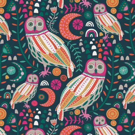 Tissu Popeline coton prenium imprimé Hiboux et Fleurs collection Lugu by Jessica Swift pour Art Gallery Fabrics .x1m