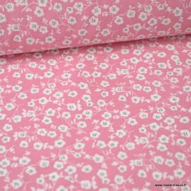 Tissu coton imprimé fleurs et fleurettes Rose Oeko tex .x1m