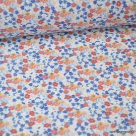 Tissu coton imprimé fleurs et fleurettes Rose et bleu Oeko tex .x1m