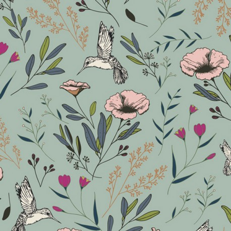 Tissu Popeline coton imprimé fleurs et oiseaux fond Menthe de Maureen Cracknell pour Art Gallery Fabrics .x1m