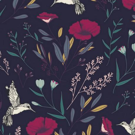 Tissu Rayon Viscose imprimé fleurs fond Bleu marine de Maureen Cracknell pour Art Gallery Fabrics .x1m