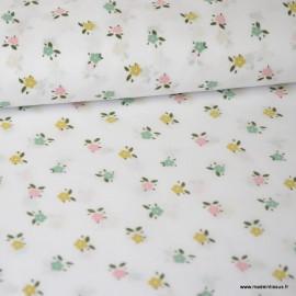 Tissu Voile de coton oeko tex imprimé petites Fleurs fond Blanc