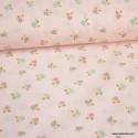 Tissu Voile de coton oeko tex imprimé petites Fleurs fond Rose