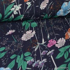 Tissu Viscose coton imprimé fleurs  fond Bleu marine