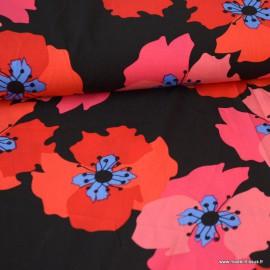Tissu Viscose à fleurs rouges et roses fond Noir