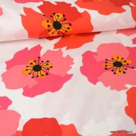 Tissu Viscose à fleurs rouges et roses fond Blanc
