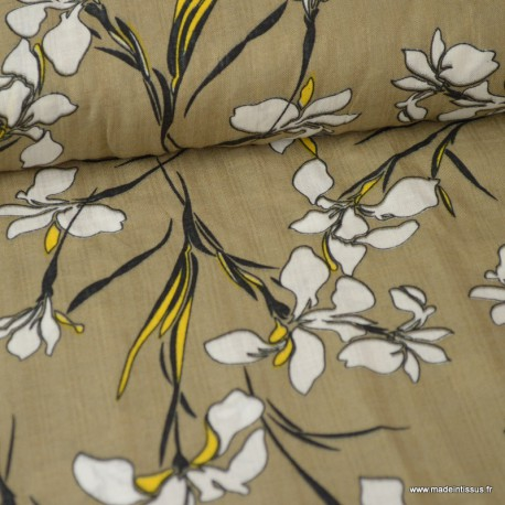 Tissu Viscose coton imprimé fleurs fond Beige