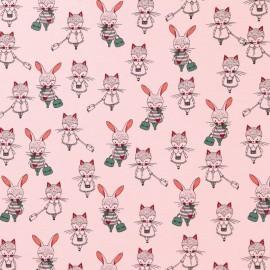 Tissu Jersey Coton Lapines et renardes Vertes et roses sur fond Rose