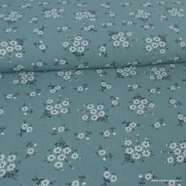 Tissu crêpe imprimé petites fleurs fond vert