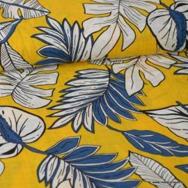 Tissu Viscose imprimé feuille de palme bleu et blanc fond Jaune