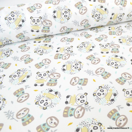 Tissu coton Oeko tex imprimé Pandas et de Paresseux jaune et jade