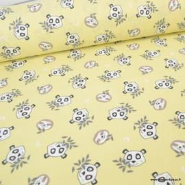 Tissu coton Oeko tex imprimé Têtes de Pandas et de Paresseux fond Jaune