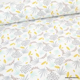 Tissu coton imprimé feuilles grises, moutarde et Jade