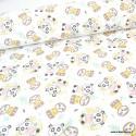 Tissu coton Oeko tex imprimé Pandas et de Paresseux jaune et Rose