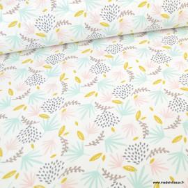 Tissu coton imprimé feuilles rose, moutarde et Menthe