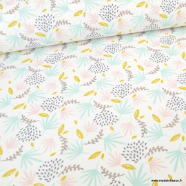 Tissu coton imprimé feuilles rose, moutarde et Bleu