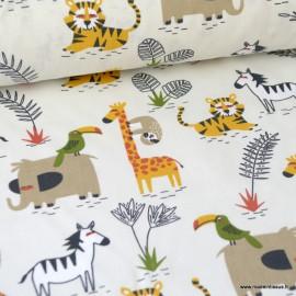 Tissu coton imprimé Girafes, paresseux et Zèbres