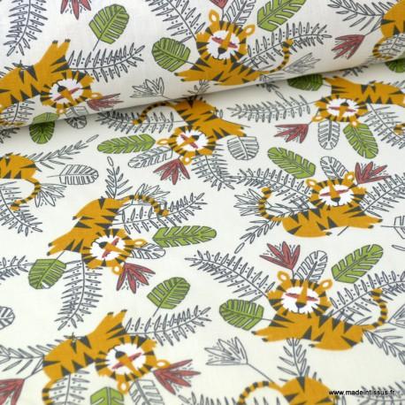Tissu coton imprimé Lions Jungle et feuillages Ocre et vert