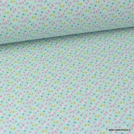 Tissu coton imprimé Feuilles bleu, moutarde et rose