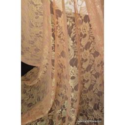 Dentelle pour robe de mariée corail/or x50cm