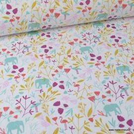 Tissu coton imprimé Flamants, éléphants et feuilles menthe, grenadine et moutarde
