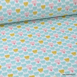 Tissu coton imprimé Ecailles bleu, moutarde et grenadine