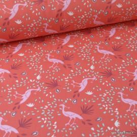 Tissu coton imprimé Oiseaux et feuills fond Grenadine