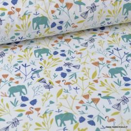 Tissu coton imprimé Flamants, éléphants et feuilles Indigo