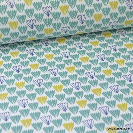 Tissu coton imprimé Ecailles indigo, moutarde et vert