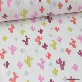 Tissu Popeline imprimé Cactus Grenadine Oeko tex
