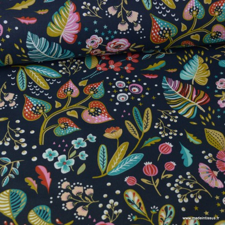 Tissu Gabardine coton lycra bleu marine imprime fleurs