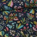 Tissu cretonne coton Oeko tex imprimé fleurs fond Bleu ardoise x1m