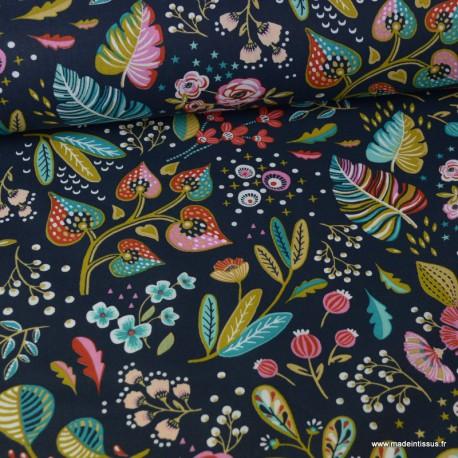 Tissu cretonne coton Oeko tex imprimé fleurs fond gris Anthracite x1m