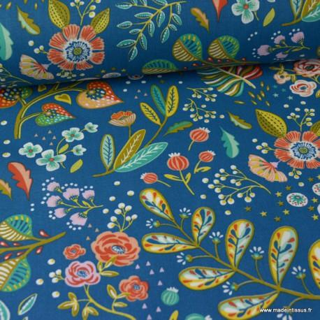 Tissu cretonne coton Oeko tex imprimé fleurs fond Bleu Canard x1m