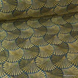 Tissu ameublement jacquard Shell Or et Bleu .x 1m